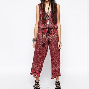 Free People cropped floral jumpsuit in gray